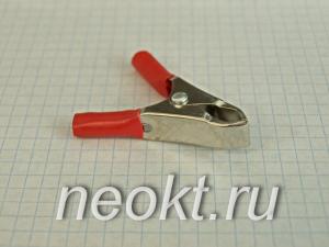 """8-0035 зажим """"крокодил"""" красный L-50, 5A"""