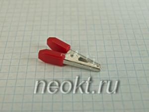 """8-0029 зажим """"крокодил"""" L-35 красный"""