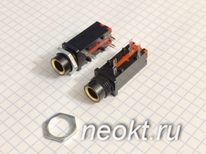 Стерео гнездо 6,3 на гайке CX3-6.3-18 (ST-008G)